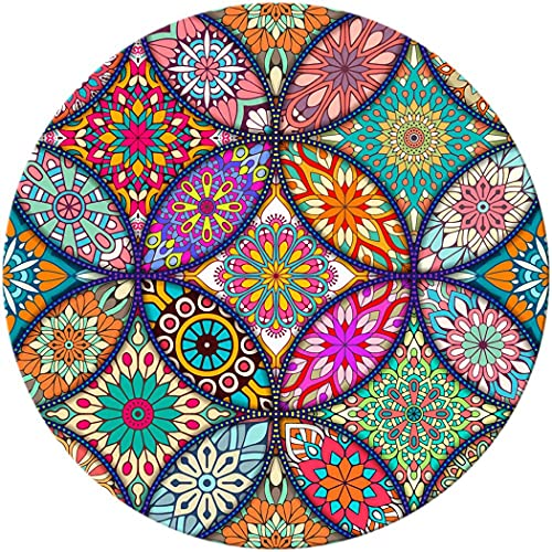 BOSOBO Mouse Pad, Round Mandala Mouse Mat, Cute Mouse Pad with Design, Non-Slip Rubber Base Mousepad with Stitched Edge, Waterproof Women Office Mouse Pads, Small Size 7.9 x 7.9 Inch, Pretty Mandala