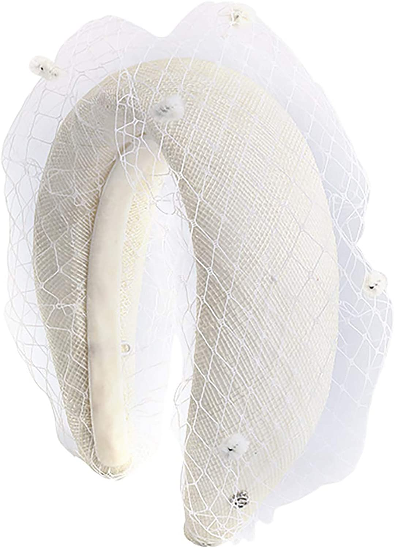 EVITA PERONI Large White Fascinator Elegant Hair Band Headband Headwear Fishing Net Party Accessories for Women