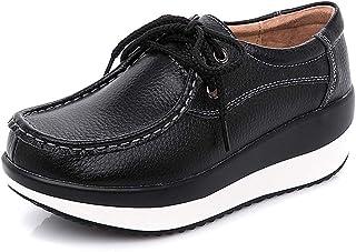 Mujer Cuña Zapatos Cuero Ocio Zapatillas de Deporte Plataforma Zapatos Adelgazantes de Fitness Sneakers
