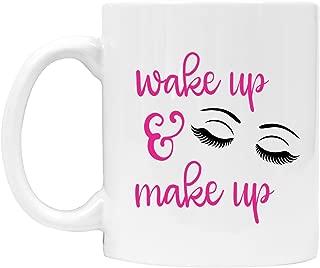 Wake up and Make up Coffee Mug - Eyelashes, Pink, Gift for Cosmetologist, Beauty School - DSM34