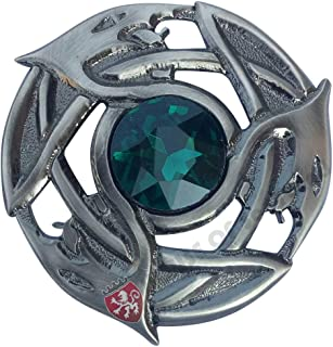 HK - Spilla scozzese a forma di kilt mosca con serpente celtico in argento con finitura anticata, con spilla e spilla da 8...