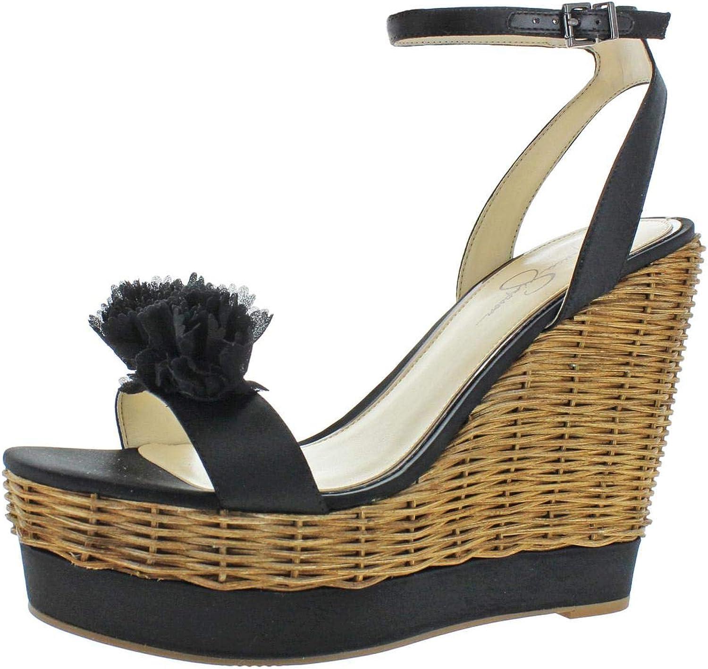 Jessica Simpson Womens Pressa Satin Ankle Strap Wedge Sandals