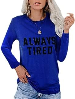 Gocgt Womens T-Shirt O Neck Letters Printing Long Sleeve T-Shirt Casual Tops T-Shirt