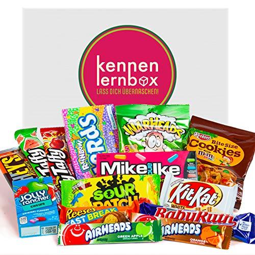 Süßigkeiten Box aus Amerika   Kennenlernbox mit 14 beliebten Süßigkeiten aus den USA   Geschenkidee für Weihnachten und Geburtstage
