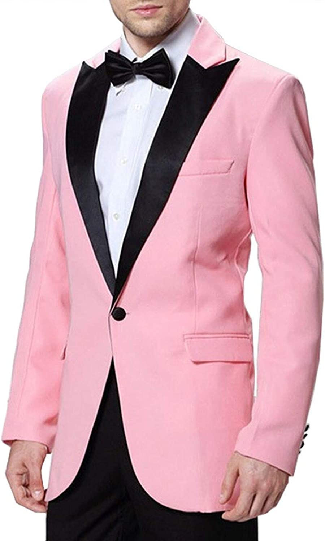 Springplus Men's Notch Lapel 2 Piece Formal Men Suit Slim Fit Groomsman Blazer