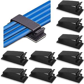 schwarz flexible Kabelklemme Kabelclip Kabelbefestigung Drahthalter selbstklebend oder mit Schraube f/ür Schreibtisch TV Flexowire 50 Stk Vielzweck etc