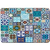 Antideslizante Alfombra De Baño,Mega Set de Azulejos de cerámica con Estampado Oriental,Alfombra de Cocina Alfombra Mascota,Alfombras de Ducha 75x45cm