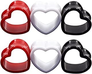 6pcs Heart Shaped Acrylic Ear Plugs Set Mix Color Stretcher Expander Screwed Tunnels Gauge 6G-7/8 in