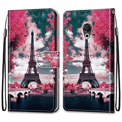 Ougger Hülle für Meizu 15 Lite, M15 Handyhüllen Flip Hülle Cover Stylish mit Standfunktion & Magnetisch PU Tasche Schutzhülle passt für Meizu 15 Lite, M15 (Eiffelturm)