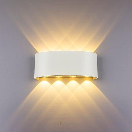 HYDONG Appliques Murales Interieur LED Lampe 8w étanche Moderne Applique Murale en Aluminium Blanc pour Chambre Maison Couloir Salon (Blanc Chaud)
