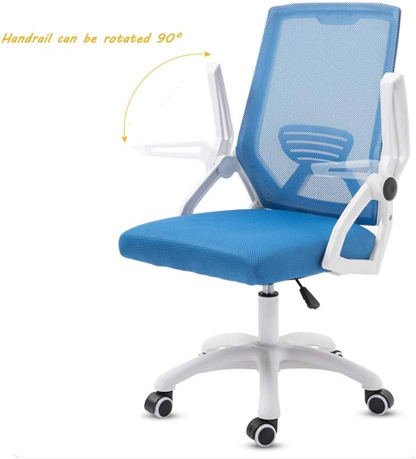 WGFGXQ Chaise de Bureau, Chaise de Bureau pivotante à Dossier Haut Siège de Bureau Ergonomique à Main Courante réglable (Couleur: Bleu) Blue