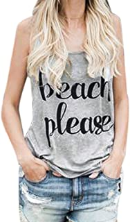 UOKNICE Blouses for Womens, Casual Crop Vest Print Letter Sleeveless Tank Pullovers T-Shirts Tees Tops