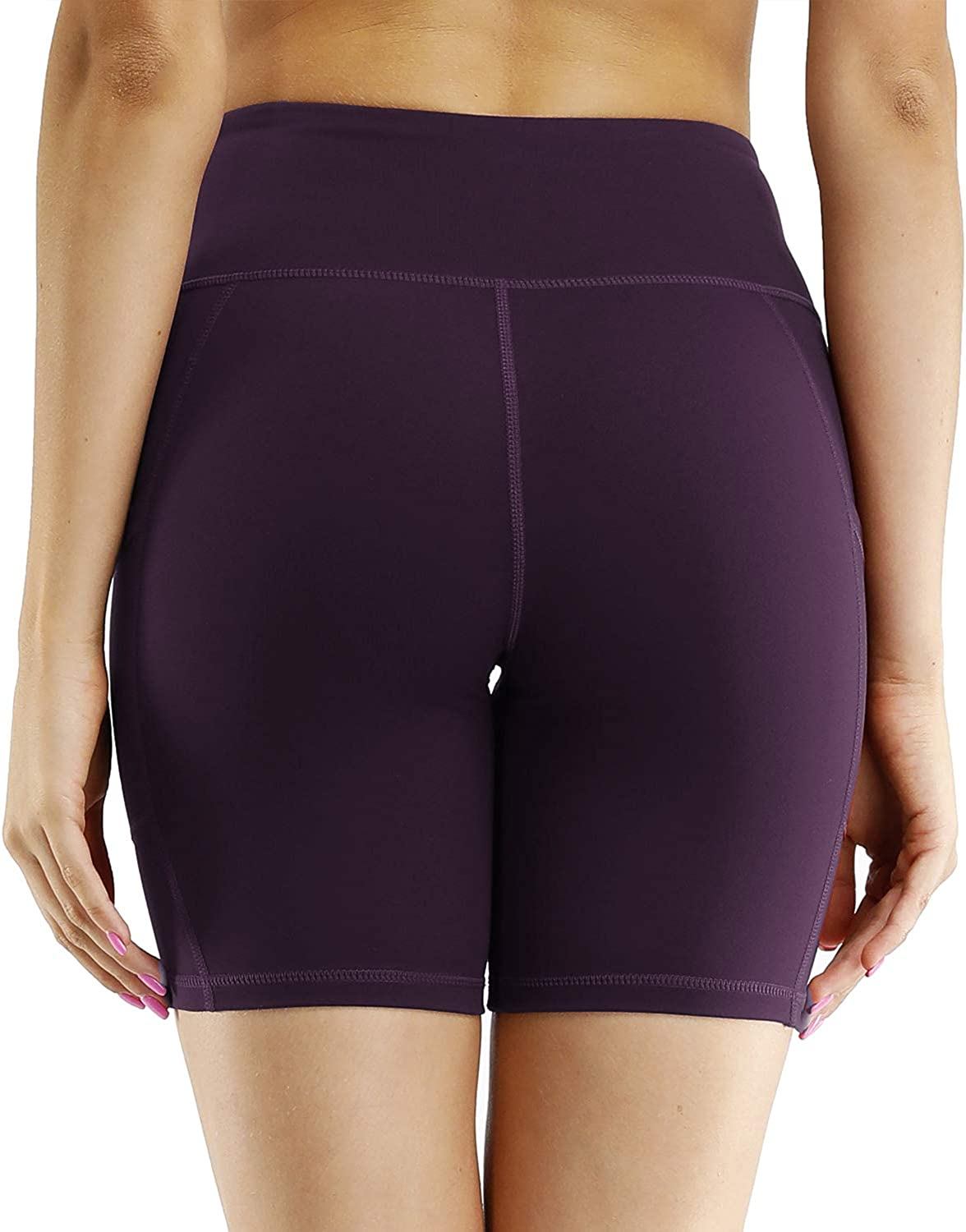 LastFor1 8 //5 Womens High Waist Yoga Shorts Compression Workout Running Bike Shorts Side Pockets
