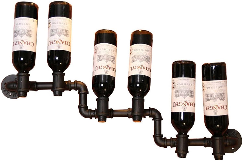 SYF LOFT Wall Wall Rack Wine Rack Metal Iron Wine Bottle Rack Wall-Mounted Shelf Storage Rack Industrial Black A+ (Size   B)