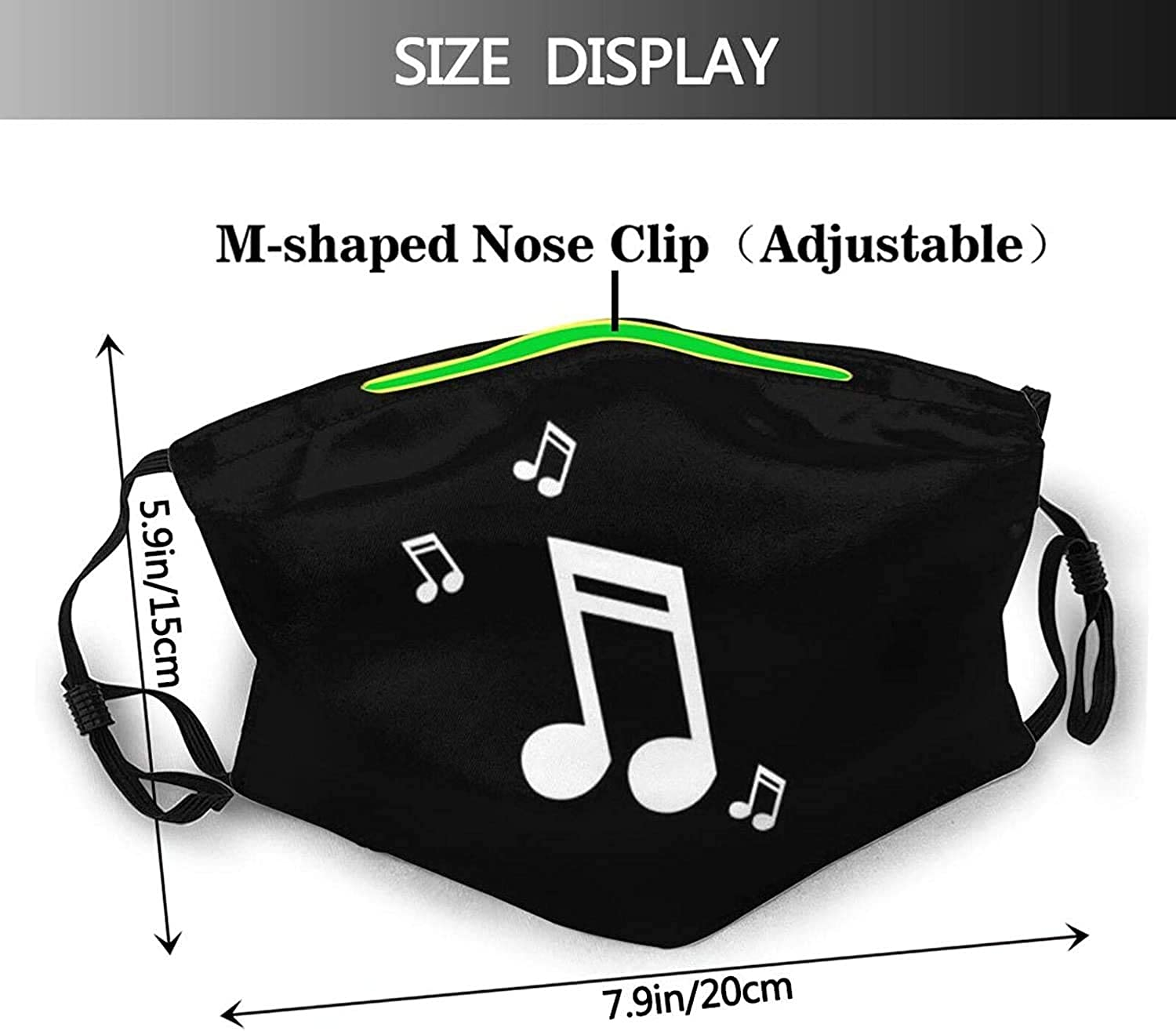 Colorful Design Music-Face Mask Balaclava, Washable&Reusable with 2 Pcs Filters, for Adult Women Men&Teens