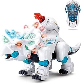 wodtoizi Remote Control Robot Dinosaur RC Walking Dinosaur Toy Intelligent Interactive Educational Dancing Singing Missiles Launching Water Mist Spraying Story Telling Learning Dino Robot Triceratops
