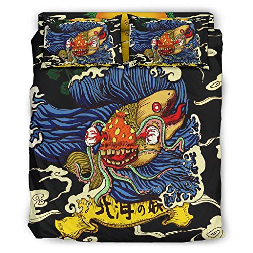 Wandlovers Juego de cama de 4 piezas, diseño japonés, Yokai, con olas y sol, nubes, impresión ultrasuave, juego de funda nórdica y funda de almohada, 175 x 218 cm, color blanco