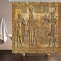 AFDSJJDK シャワーカーテンフック 古代寺院の壁の水浴カーテンセットの壁画と象形文字