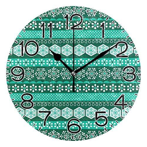Mdt Reloj de pared con diseño de rayas, funciona con pilas, de cuarzo, silencioso, analógico, rústico, de estilo rústico, para casa, cocina, sala de estar, baño