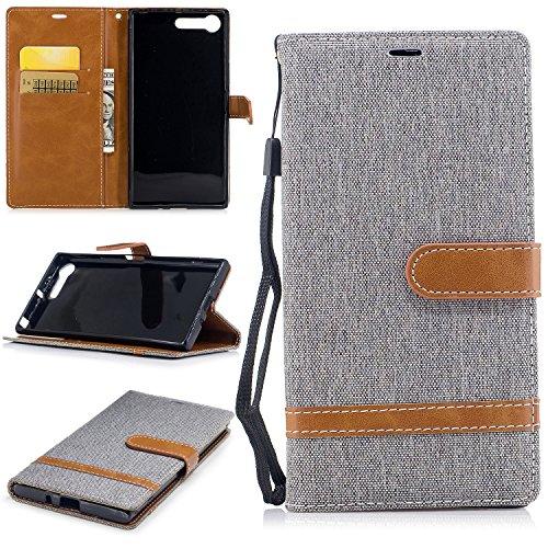 FEYYXI Handyhülle für Sony Xperia XZ Premium Hülle Leder Schutzhülle Brieftasche mit Kartenfach Stoßfest Handyhülle Case für Sony Xperia XZ Premium - FEBF21390 Grau