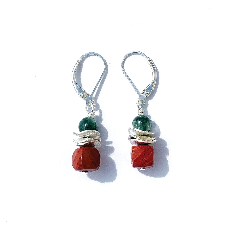 Joyfulmuze 2021 model Red Jasper Green Light Hypoalle Earrings Seraphinite Bargain