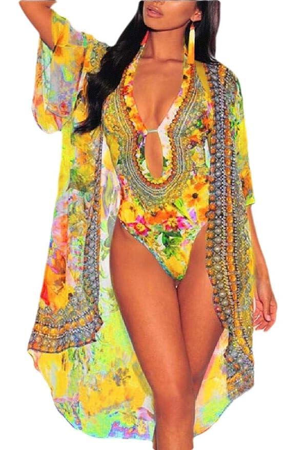 一時的差し引く不利Women Sexy Floral Cover-ups 2 Pieces Set Summer Beach Swimsuits with Ponchos Cover Up