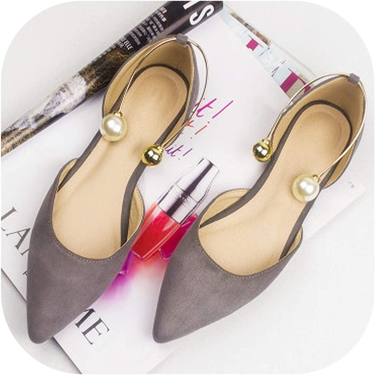 Summer Korean Version of The New Women's shoes Hollow Pearl Single shoes Flat shoes Large Size Women's shoes