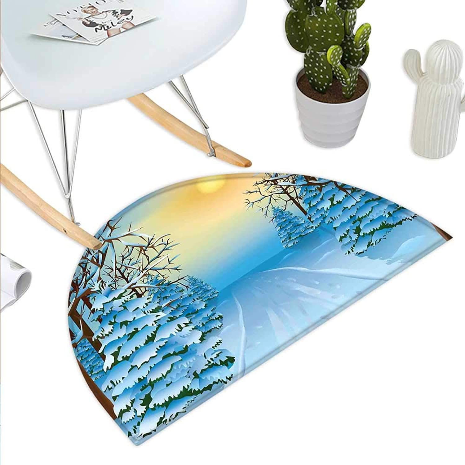 Winter Semicircle Doormat Forest View Graphic Display Print with Snowy Path Between Trees and Sun on Sky Halfmoon doormats H 35.4  xD 53.1  bluee Yellow