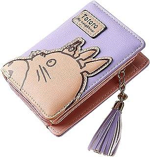 Totoro قصيرة محفظة المرأة محفظة هامش أنيمي الكرتون محفظة حامل سستة مخلب عملة محفظة قابلة للطي المحفظة الإناث (Color : Purple)