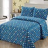 2 pc Twin Size Quilt Bedspread Kids/Teens Boys Baseball Gloves Hat Baseball Bat Blue White Grey Multicolor Bedding New