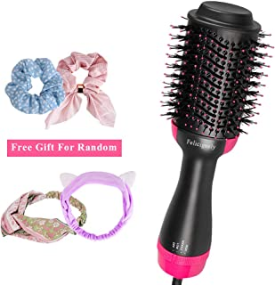 One Step Hair Dryer & Volumizer, Felicigeely Hair Dryer Brush 3 In 1 Negative Ions Hot Air Brush, Ceramic Electric Blow Dryer Brush with Floral Headband and 2 Duckbill Hair Clips