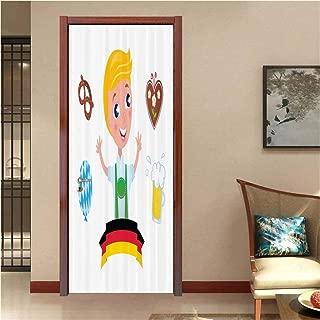 LOUTANsticker Bavarian Boy Oktoberfest Pattern Printing 3D Door Mural Wallpaper Stickers Self, Adhesive Wall Mural Door Stickers Decor for Home Room Decoration, 30.3