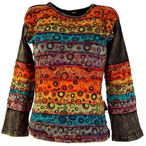 Guru-Shop Goa Langarmshirt Stonewash, Damen, Modell 7, Baumwolle, Size:M (38), Pullover, Longsleeves & Sweatshirts Alternative Bekleidung