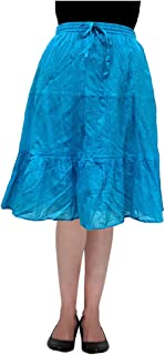 COTTON BREEZE Women's A-line Skirt (Turquoise)
