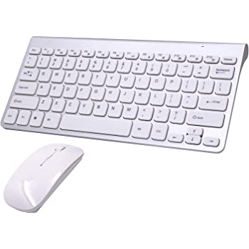 Keyboard and Mouse Combo[Energy Saving], TRELC 2.4G Ultra Thin Wireless Keyboard and Slim DPI Adjustable Mouse for PC, Desktop, Computer, Notebook, Laptop, Windows XP/Vista /7/8/10 (Silver+White)