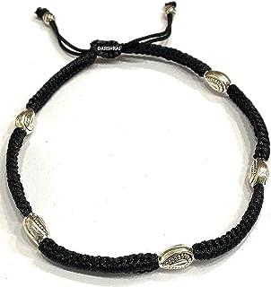 DARSHRAJ JEWELLERS 925 Sterling Silver(Chandi) Silver Beads Black Thread Anklet for Girls | Women (Pack of 1)