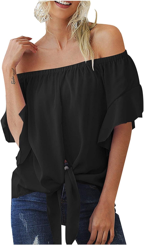 Women Fashion Solid 3/4 Sleeve Loose Blouse Drawstring Tops Shirt Chiffon Shirt Summer Tops Tee Shirts Blouse Black