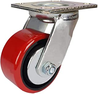 zwenkwielen met rem, Caster Wheels Set van 4 Casters Heavy-Duty 4-inch gietijzer Polyurethaan PU Moving Wheel Universal Op...