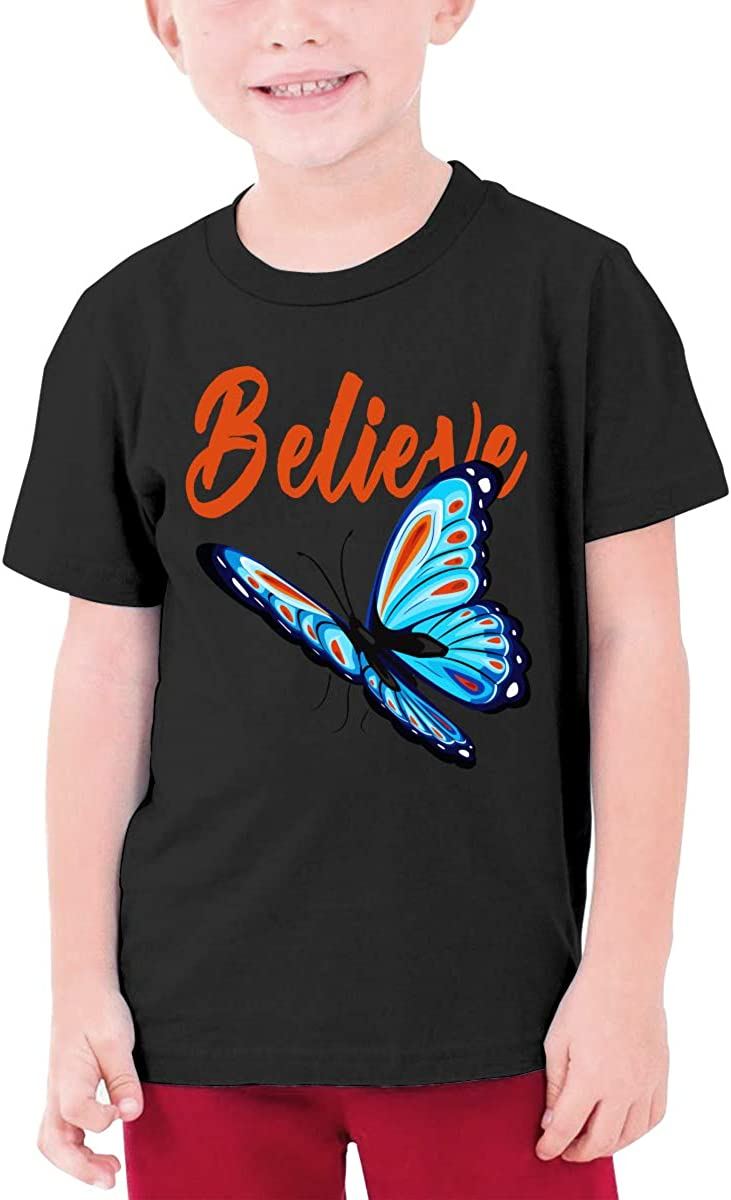 Blue and Red Butterfly Youth T-Shirt Short Sleeve Top Boys&Girls Tee