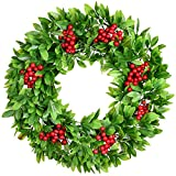 Lvydec Green Leaves Christmas Wreath with Red Berry - 15 Inch Artificial Schefflera Wreath with Red Berries for Christmas Front Door Window Fireplace Decoration