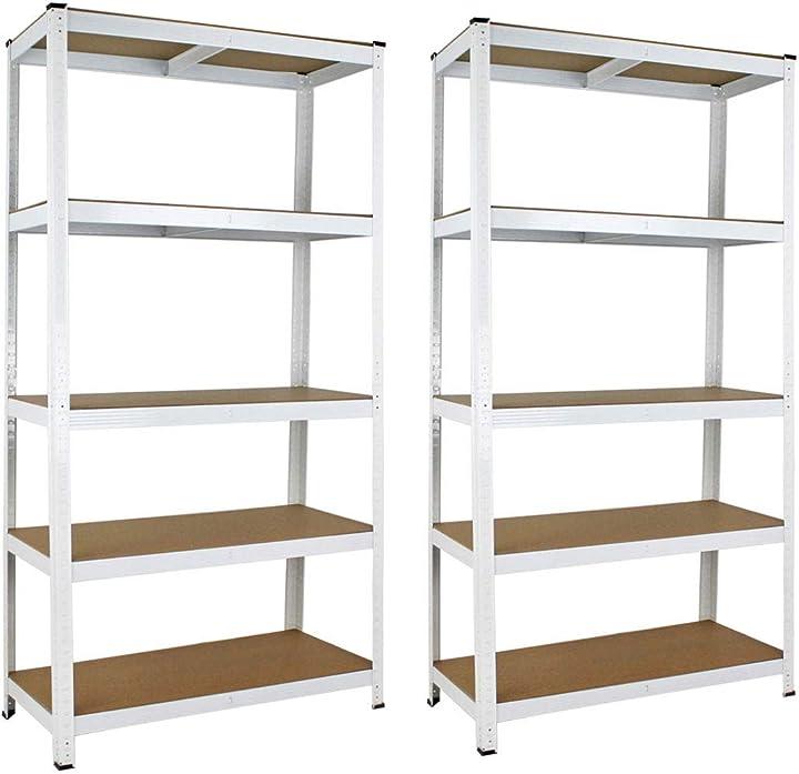 Scaffale metallo 5 ripiani 180x90x40cm scaffali in metallo per garage, 2 pezzi bianco B08FF1GRVS