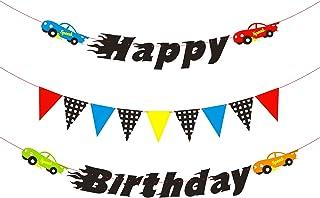 بنر تولد پسران ، اتومبیل های رنگارنگ و پرچم های بررسی شده برای دکوراسیون مهمانی BeYumi Race Cars ، بیایید مسابقه پس زمینه تولد برای تولد بچه ها را بیابیم