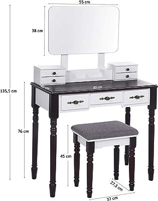 ANWBROAD Coiffeuse Moderne Table de Maquillage en MDF et en Bois de pin avec Miroir sans Cadre, Organiseur de Maquillage Amovible 7 tiroirs, 3 séparateurs et rails pour chambre, Dressing BDT03WZ