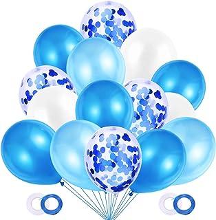 JOJOR 60 Pièces Ballon Bleu et Blanc,Ballon Gonflable Confettis Helium pour Garcon Anniversaire Happy Birthday Bapteme Com...