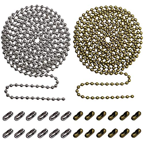 Beaded Pull Chain Extension with Connector for Ceiling Fan or Light (Pack of 2) 10 Feet Beaded Roller Chain with 12 Matching Connectors Each (3.2mm Diameter, Silver & Bronze)