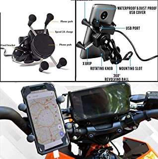 Bike Mobile Holder with Charger. Universal for All Bike (ex. Hero Bajaj Tvs Yamaha Honda Royal Enfield – Splendor Pulsar Apache Fz Classic Or for All Model)