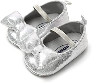 LIVEBOX Infant Newborn Baby Girl Shoes, Premium Soft Anti-Slip Bow Crib Shoes Prewalker Toddler Mary Jane Princess Dress Shoes with Strap Accessories for 0-18 Months Babies