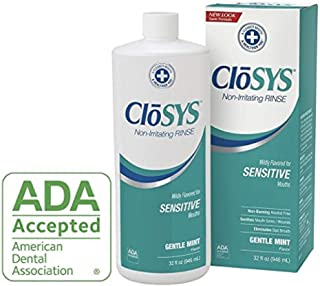 CloSYS Sensitive Mouthwash, Gentle Mint Flavored, pH balanced, helps soothe mouth Sensitivity, Alcohol Free, 32 ounce