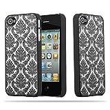 Cadorabo Apple iPhone 4 / iPhone 4S Hardcase Hülle in SCHWARZ Blumen Paisley Henna Design Schutzhülle – Handyhülle Bumper Back Hülle Cover