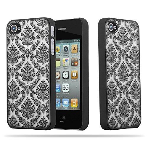 Cadorabo Apple iPhone 4 / iPhone 4S Hardcase Hülle in SCHWARZ Blumen Paisley Henna Design Schutzhülle – Handyhülle Bumper Back Case Cover